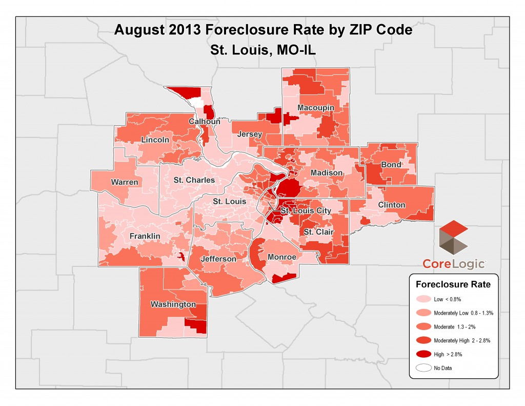 St Louis Foreclosure Rates by Zip Code - August 2013 - Corelogic - Presented by MORE, REALTORS - ST Louis, MO
