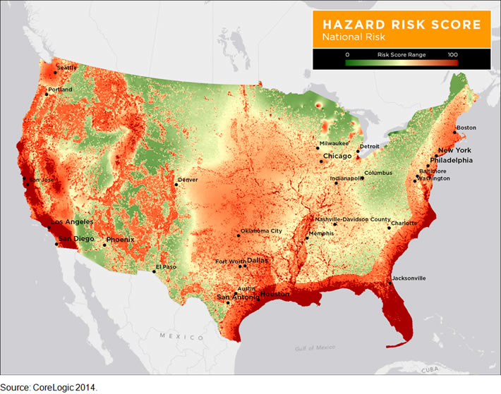 Natural Hazard Risk Score Map For the U.S.