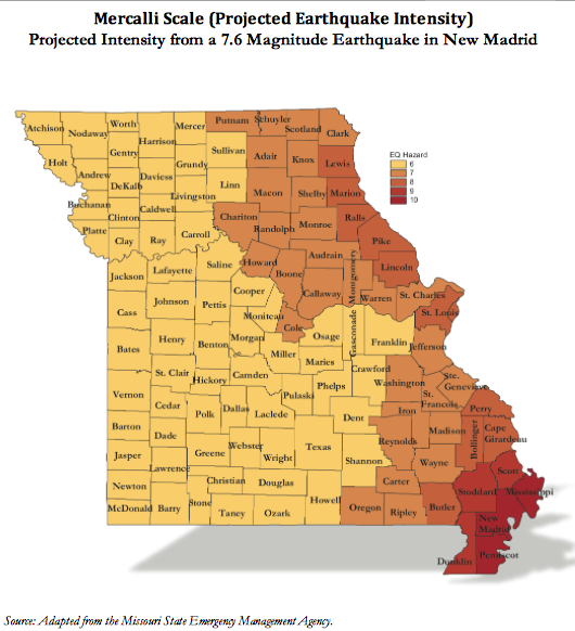 Marcelo Scale Projection Missouri- Projected Intensity of New Madrid Earthquake on state of missouri