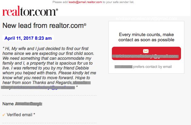 Realtor.com bogus lead email - phishing scam